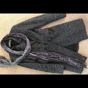 ZARA blue wool tweed coat sz.S& Free Converse 🧣